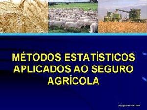 MTODOS ESTATSTICOS APLICADOS AO SEGURO AGRCOLA Copyright Vitor