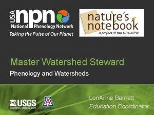 Master Watershed Steward Phenology and Watersheds Lori Anne