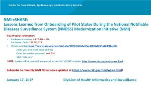 Center for Surveillance Epidemiology and Laboratory Services NMI