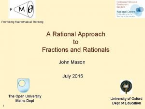 Promoting Mathematical Thinking A Rational Approach to Fractions