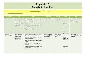 Appendix D Sample Action Plan Public Library Action