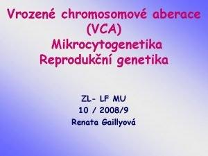 Vrozen chromosomov aberace VCA Mikrocytogenetika Reprodukn genetika ZL