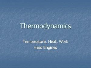 Thermodynamics Temperature Heat Work Heat Engines Thermodynamics n
