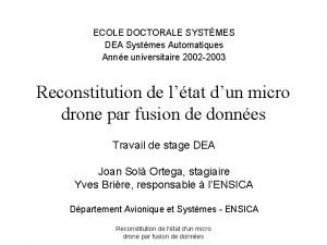 ECOLE DOCTORALE SYSTMES DEA Systmes Automatiques Anne universitaire