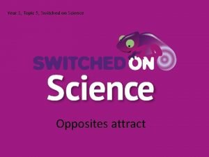 Year 3 Topic 5 Switched on Science Opposites