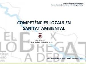 La salut Pblica al Baix Llobregat Centre dEstudis