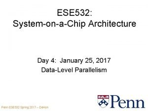 ESE 532 SystemonaChip Architecture Day 4 January 25