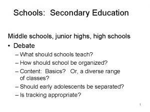 Schools Secondary Education Middle schools junior highs high