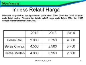 Indeks Relatif Harga Diketahui harga beras dari tiga