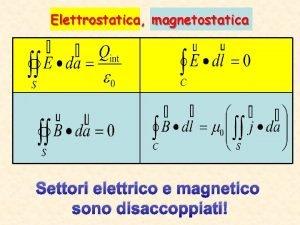 Elettrostatica magnetostatica Settori elettrico e magnetico sono disaccoppiati