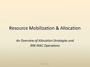 Resource Mobilization Allocation An Overview of Allocation Strategies