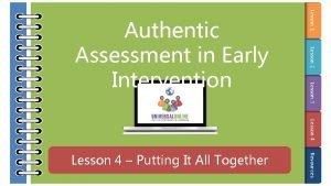 Lesson 1 Lesson 2 Lesson 3 Authentic Assessment