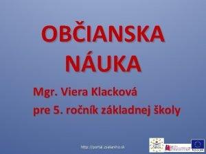 OBIANSKA NUKA Mgr Viera Klackov pre 5 ronk