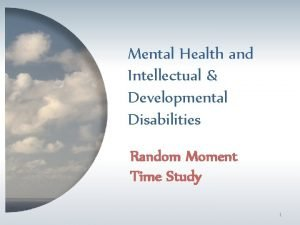 Mental Health and Intellectual Developmental Disabilities Random Moment