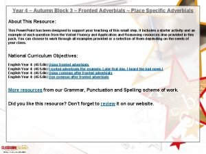 Year 4 Autumn Block 3 Fronted Adverbials Place