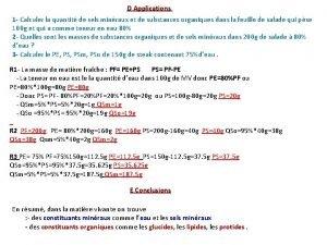D Applications 1 Calculer la quantit de sels