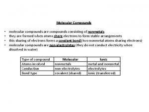 Molecular Compounds molecular compounds are compounds consisting of