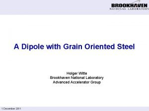A Dipole with Grain Oriented Steel Holger Witte