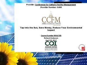 Provider Conference for Catholic Facility Management Provider Number