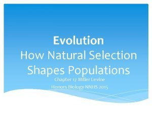 Evolution How Natural Selection Shapes Populations Chapter 17