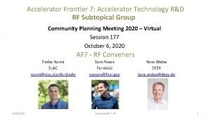 Accelerator Frontier 7 Accelerator Technology RD RF Subtopical