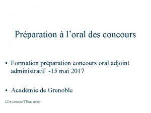 Prparation loral des concours Formation prparation concours oral