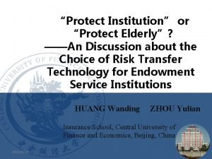 Protect Institution or Protect Elderly An Discussion about