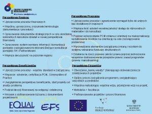 Perspektywa Regionu Perspektywa Programu Uproszczenie procedur finansowych Uproszczenie