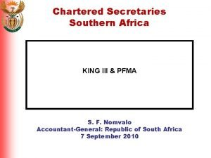 Chartered Secretaries Southern Africa KING III PFMA S