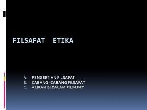 FILSAFAT A B C ETIKA PENGERTIAN FILSAFAT CABANG