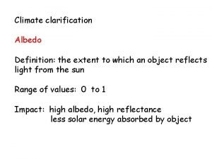Climate clarification Albedo Definition the extent to which