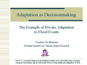 Adaptation as Decisionmaking The Example of Private Adaptation