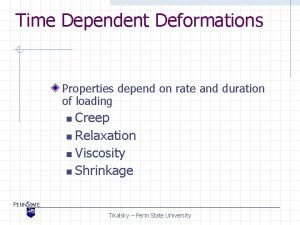 Time Dependent Deformations Properties depend on rate and