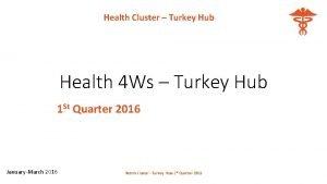 Health Cluster Turkey Hub Health 4 Ws Turkey