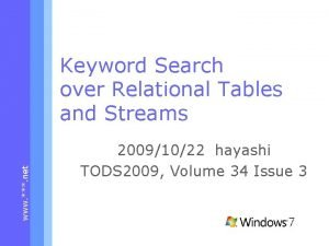 www net Keyword Search over Relational Tables and