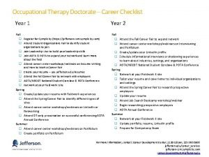 Occupational Therapy Doctorate Career Checklist Year 1 Year