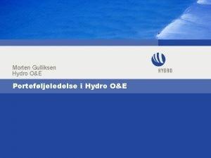 Morten Gulliksen Hydro OE Portefljeledelse i Hydro OE