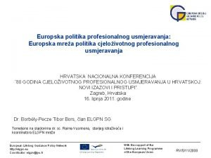 Europska politika profesionalnog usmjeravanja Europska mrea politika cjeloivotnog