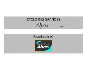 CYCLO DES GRANDES Alpes Roadbook v 1 2017