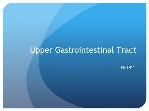 Upper Gastrointestinal Tract KNH 411 Upper GI AP