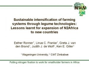 Sustainable intensification of farming systems through legume technologies