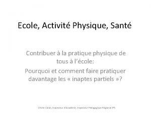 Ecole Activit Physique Sant Contribuer la pratique physique