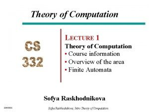 Theory of Computation LECTURE 1 Theory of Computation