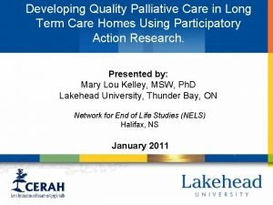 Developing Quality Palliative Care in Long Term Care