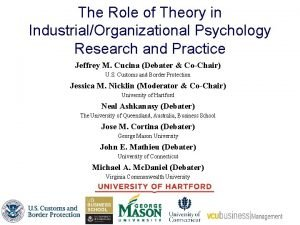 The Role of Theory in IndustrialOrganizational Psychology Research