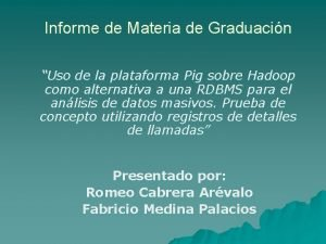 Informe de Materia de Graduacin Uso de la
