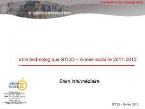 Formation des enseignants Voie technologique STI 2 D