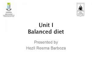 Unit I Balanced diet Presented by Hezil Reema