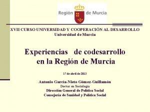 XVII CURSO UNIVERSIDAD Y COOPERACIN AL DESARROLLO Universidad