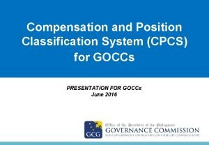 Compensation and Position Title Classification System CPCS for